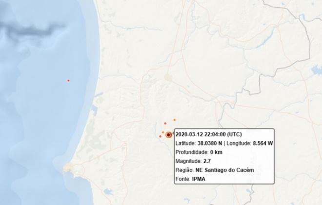 Sismo de 2.7 registado em Santiago do Cacém