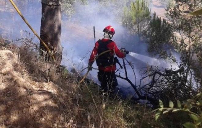 Incêndio consumiu área de mato perto de Melides