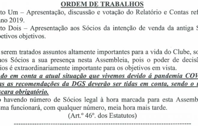 Vasco da Gama Atlético Clube reúne Assembleia Geral esta noite