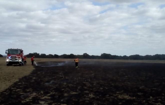 Incêndio consumiu esta tarde uma área de pasto em Alvalade, Santiago do Cacém